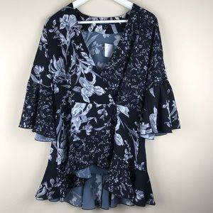 FRENCH CONNECTION Wrap Blouse Floral Top M